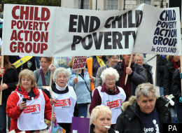 Demonstrators during a march from Trafalgar Square to Westminster in central London to raise awareness of the level of child poverty in the UK. Picture date: Saturday, October 4, 2008.