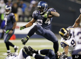 Seattle Seahawks running back Marshawn Lynch leaps (24) runs against the St. Louis Rams in the second half of an NFL football game, Monday, Dec. 12, 2011, in Seattle. The Seahawks won 30-13. (AP Photo/Elaine Thompson)