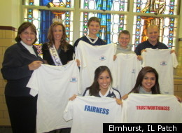Christine Garcia, Mrs. Illinois 2011, shown here in the fall with Elmhurst area students during Character Counts Week.