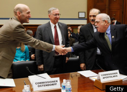 "WASHINGTON, DC - DECEMBER 14: House Oversight And Government Reform Committee member Rep. Gerry Connolly (D-VA) (R) welcomes Nuclear Regulatory Commission Chairman Gregory Jaczko (L) and fellow commissioners William Ostendorff (C) and George Apostolakis before a hearing of the committee December 14, 2011 in Washington, DC. In October the four commissioners sent a letter White House Chief of Staff William Daley expressing ""grave concerns"" that Jaczko's deficiencies as a leader could compromis"