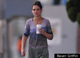 Katie Holmes is guilty of wearing sweatpants in public places. For shame.
