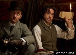 Jude Law and Robert Downey Jr in 'Sherlock Holmes: Game of Shadows'