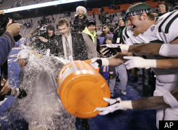 Ohio's head coach Frank Solich runs from a dousing after defeating Utah State in the Famous Idaho Potato Bowl NCAA college football game on Saturday, Dec. 17, 2011, in Boise, Idaho. (AP Photo/Matt Cilley)