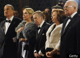 Czech Foreign Minister Karel Schwarzenberg, Dagmar Havlova, wife of former Czech Presidenty Vaclav Havel, Former Vaclav Havel, Livia Klausova, wife of Czech President Vaclav Klaus and Vaclav Klaus listen to the Czech anthem in the Spanish Hall during the Independence Day ceremony on October 28, 2011 at the Prague Castle. (Getty)