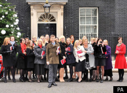Miltary Wives with Gareth Malone outside No 10 Downing Street for a performance of 'Wherever You Are'