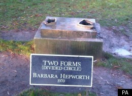The plinth where stolen artwork Two Forms (Divided Circle) once stood