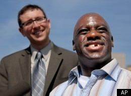 Eric Caine, shown here with his attorney Russell Ainsworth upon his release from prison in March, has filed a lawsuit against the city of Chicago and its former police commander Jon Burge over the torture he claims he faced before being wrongly convicted of a double murder.