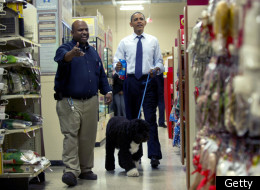 President Obama and the Obama family dog Bo shopping in Alexandria on Wednesday.