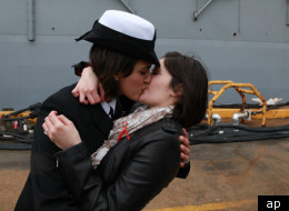 The lesbian kiss between the two US naval officers was described as a 'long time coming'