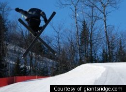 A skier tackles one of the 35 trails at Giants Ridge.