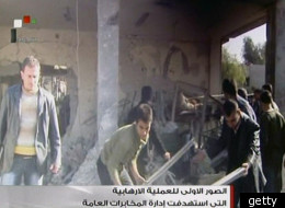 Syrian TV image from the scene of today's explosions