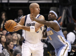 Denver Nuggets guard Ty Lawson (3) defends Dallas Mavericks guard Jason Kidd (2) during the first half of an NBA basketball game, Monday, Dec. 26, 2011, in Dallas. The Nuggets won 115-93. (AP Photo/Brandon Wade)