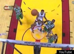 Rajon Rondo air balls a layup against the Heat.