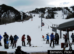 Skiers gear up for the slopes at Aspen Mountain.