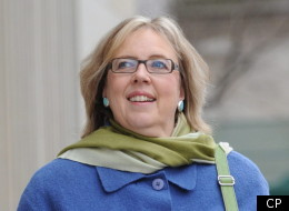 Green Party Leader Elizabeth May leaves a press conference at the National Press Theatre in Ottawa on Thursday, December 1, 2011.(THE CANADIAN PRESS/Sean Kilpatrick)