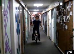 Wheee! Stephan Boyer zips around the MIT campus