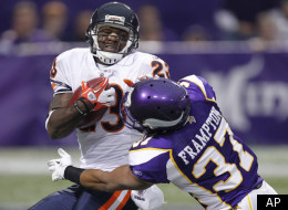 Chicago Bears wide receiver Devin Hester (23) is tackled by Minnesota Vikings defensive back Eric Frampton (37) on a kickoff return in the first half of an NFL football game in Minneapolis, Sunday, Jan. 1, 2012. (AP Photo/Andy King)