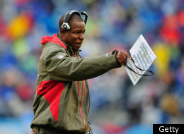 NASHVILLE, TN - NOVEMBER 27: Coach Raheem Morris of the Tampa Bay Buccaneers calls instructions to his team during a game against the Tennessee Titans during play at LP Field on November 27, 2011 in Nashville, Tennessee. (Photo by Grant Halverson/Getty Images)