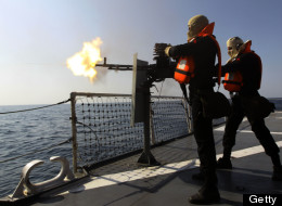 Iranian navy conducts the 'Velayat-90' naval wargames in the Strait of Hormuz in southern Iran on January 1, 2012. (EBRAHIM NOROOZI/AFP/Getty Images)