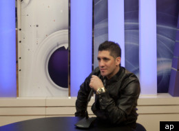 Israeli-Arab singer Sharif poses for a picture at a TV studio in Haifa, Tuesday, Jan. 3, 2012. Sharif said he was forced to cancel a show on New Year's Eve in the West Bank because of threats from activists opposed to coexistence with Israel.