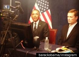 President Obama speaks via videoconference to Iowa caucus-goers
