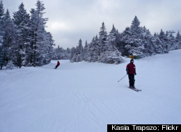 Skiing down the picturesque slopes at Stratton is like taking a trip through a winter wonderland.