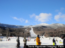 A view from the base of Stowe Mountain following one of the high-speed gondolas up the slopes.