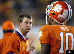 Clemson coach Dabo Swinney gestures to quarterback Tajh Boyd during the second half of the Orange Bowl NCAA college football game against West Virginia, Wednesday, Jan. 4, 2012, in Miami. (AP Photo/Lynne Sladky)