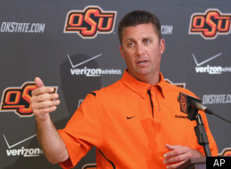 Oklahoma State coach Mike Gundy reacts to Alabama's BCS Title victory.