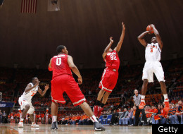CHAMPAIGN, IL - JANUARY 10: Brandon Paul #3 of the Illinois Fighting Illini shoots over Lenzelle Smith Jr. #32 of the Ohio State Buckeyes at Assembly Hall on January 10, 2012 in Champaign, Illinois. The Illini defeated the Buckeyes 79-74 as Paul scored 43 points. (Photo by Joe Robbins/Getty Images)