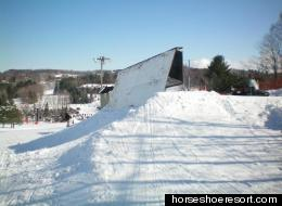Take in some of the amazing views at Horseshoe Resort's terrain park.