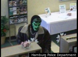 Hamburg police want help identifying the man disguised in an Incredible Hulk mask who robbed a bank on Jan. 9.