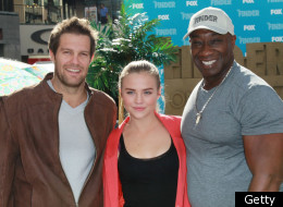 HOLLYWOOD, CA - JANUARY 09: (L-R) Actors Geoff Stults, Maddie Hasson and Michael Clarke Duncan attend Fox's 'The Finder' Challenge at Hollywood & Highland Courtyard on January 9, 2012 in Hollywood, California. (Photo by David Livingston/Getty Images)