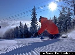 A skier cuts into freshly groomed trails at Le Massif, as the mountain is known to locals.