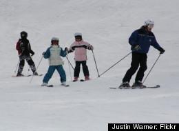 A ski instructor at Glen Eden leads a children's lesson.