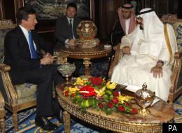 Saudi Arabia's King Abdullah meets British Prime Minister David Cameron in Riyadh, Saudi Arabia