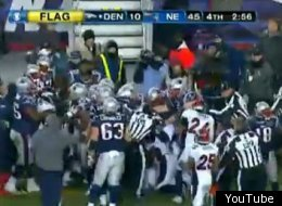 The Patriot and Broncos engaged in a fight late in their playoff matchup.