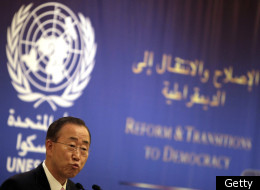 United Nations secretary general Ban Ki-moon addresses the 'Reform and Transition to Democracy' conference in the Lebanese capital Beirut on January 15, 2012. (Getty)