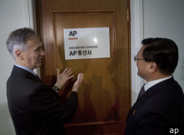 Prior to opening the North Korea bureau, Associated Press President Tom Curley and Korean Central News Agency President Kim Pyong Ho on Jan. 16, 2012.
