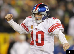 New York Giants quarterback Eli Manning reacts during the second half of an NFL divisional playoff football game against the Green Bay Packers Sunday, Jan. 15, 2012, in Green Bay, Wis. The Giants won 37-20. (AP Photo/Darron Cummings)