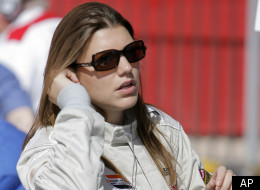 Champ car drive Katherine Legge, of England, gets ready for practice for the Vegas Grand Prix auto racing on Saturday, April 7, 2007, in Las Vegas. (AP Photo/Jae C. Hong)