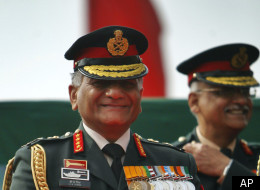 In this Jan. 15, 2012 file photo, Indian Army Chief, Gen. Vijay Kumar Singh, center, smiles on the occasion of the Indian Army Day in New Delhi, India. (AP)