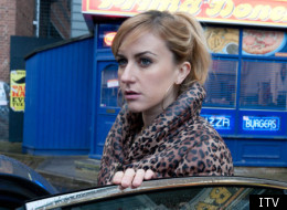 Katherine Kelly as Becky McDonald leaving Coronation Street