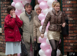 Roy and Hayley wave goodbye to Becky outside the Rovers