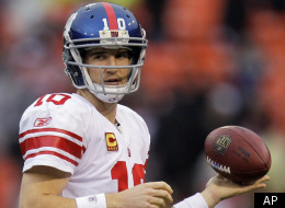 New York Giants quarterback Eli Manning warms up before the NFC Championship NFL football game against the San Francisco 49ers Sunday, Jan. 22, 2012, in San Francisco. (AP Photo/Julie Jacobson)