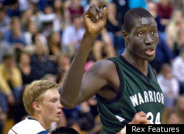 Head and shoulders above the rest: Mamadou Ndiaye plays for the Brethren Christian Warriors, in Huntington Beach, California
