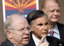 Arizona legislators, including Arizona House Speaker Andy Tobin, R-Dewey, left, and Rep. David Burnell Smith, R-Carefree, are joined by Arizona Attorney General Tom Horne, right, as they are looking into a flawed gun smuggling investigation because it took place within their state, as the Speaker says the special committee he's created to investigate the Fast and Furious operation is on a