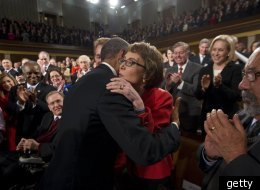 Before delivering his State of the Union, President Obama stopped to embrace Gabby Giffords.