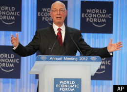 Klaus Schwab, founder of the World Economic Forum, delivers the opening address at the World Economic Forum in Davos, Switzerland, Wednesday, Jan. 25, 2012.