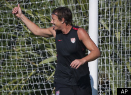 United States women's soccer player Abby Wambach gestures to a teammate during practice, Tuesday, Dec. 20, 2011, at the Home Depot Center in Carson, Calif. Wambach is The Associated Press 2011 Female Athlete of the Year. (AP Photo/Bret Hartman)